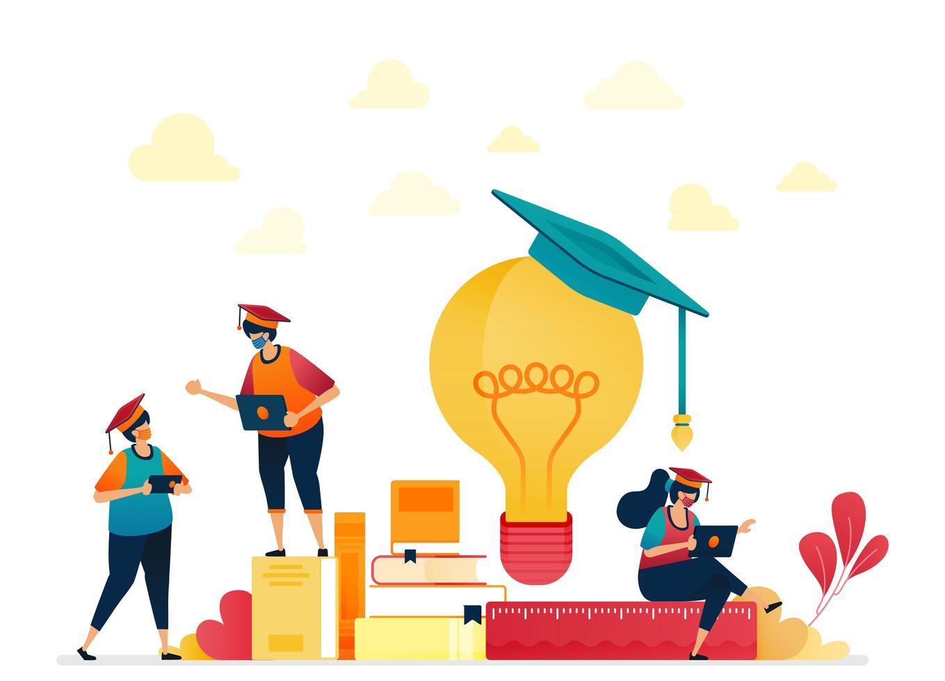 mensen in afstudeerkapjes, stapels boeken, gloeilamp. briefpapier voor school- en lerende studenten. ideeën uit lezen. vectorillustratie voor website, mobiele apps, banner, sjabloon, poster, flyer vector