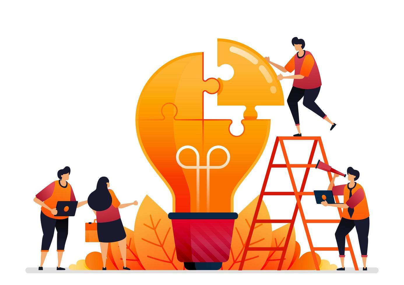 vectorillustratie van problemen oplossen en oplossingen vinden met teamwerk. deel ideeën door te brainstormen. grafisch ontwerp voor bestemmingspagina, web, website, mobiele apps, banner, sjabloon, poster, flyer vector