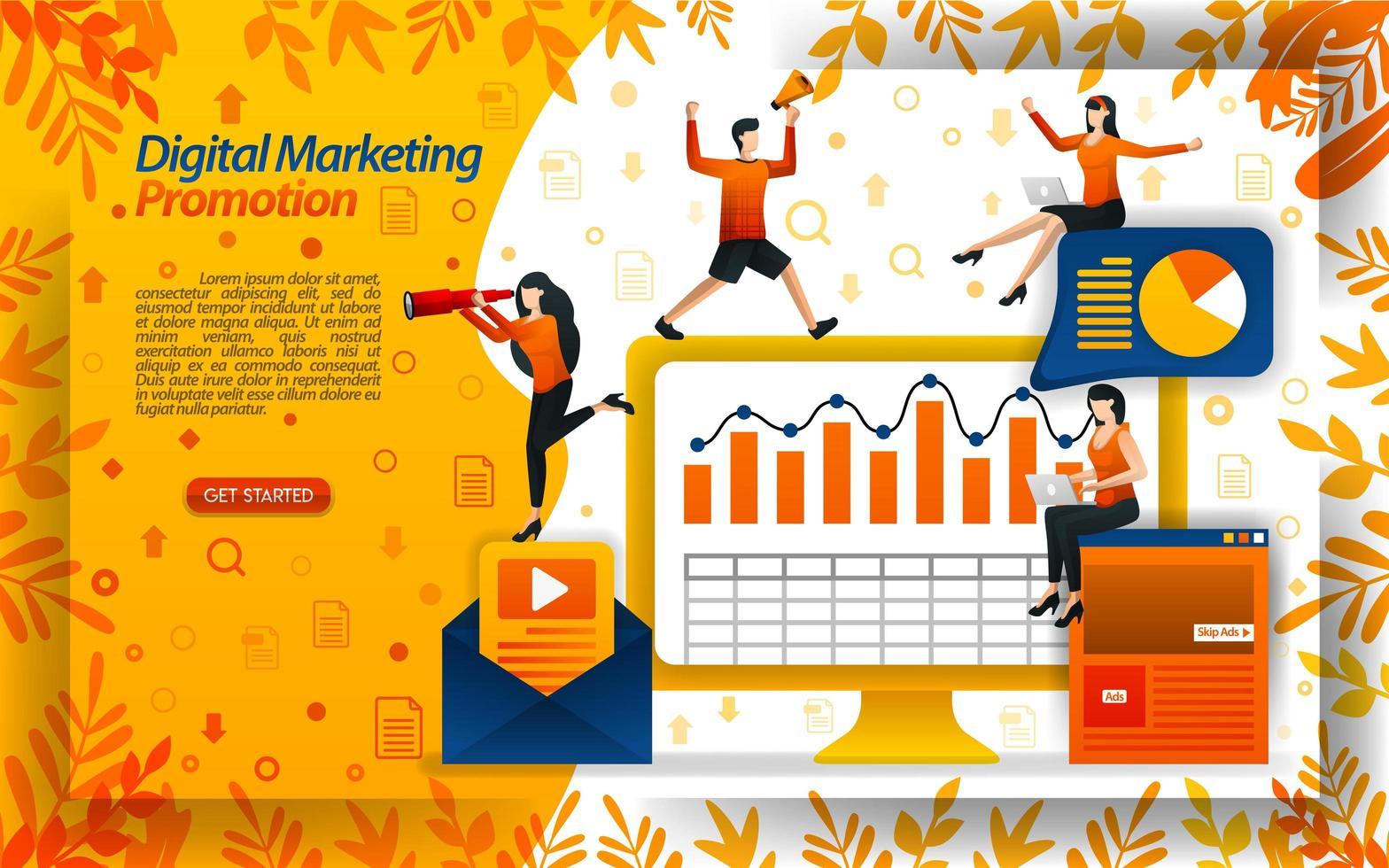 verkoop verhogen met digitale marketingvideo's, online promoties, e-mailnieuwsbrieven, concept vector ilustration. kan gebruiken voor bestemmingspagina, sjabloon, ui, web, mobiele app, poster, banner, flyer, website