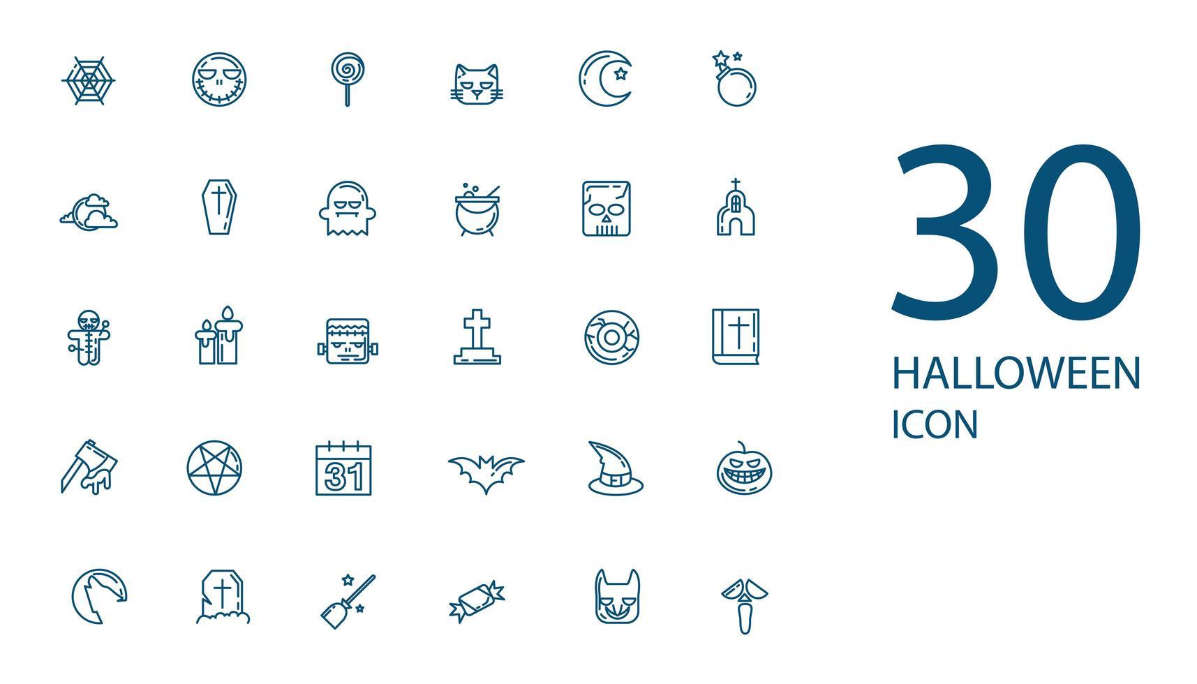 halloween dunne lijn icon set, mysterie symbolen collectie vector