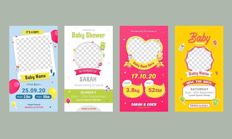 baby verjaardag aankondiging sociale media postsjabloon vector