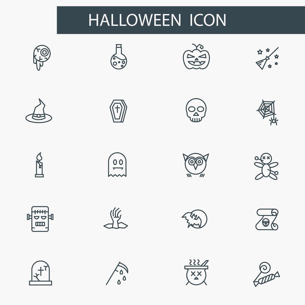 halloween dunne lijn pictogramserie. partij symbolen collectie, vector
