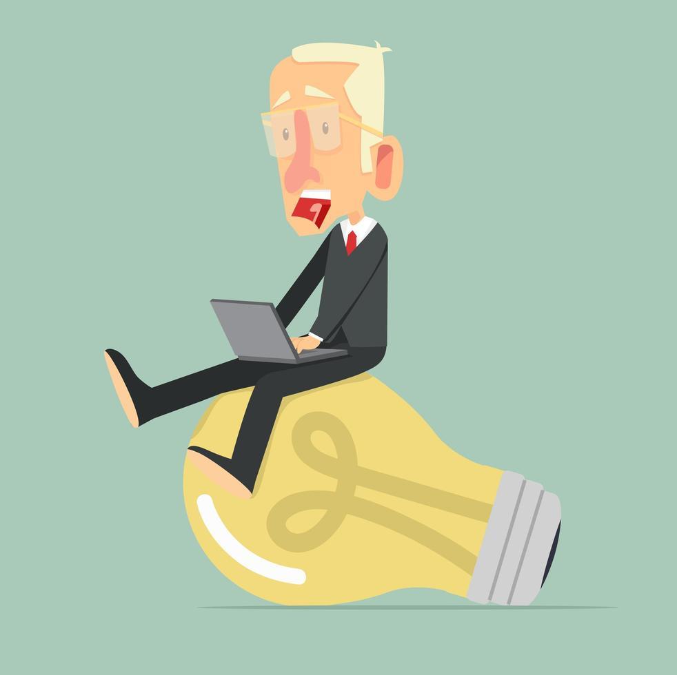 zakenman op een gloeilamp, idee concept vector