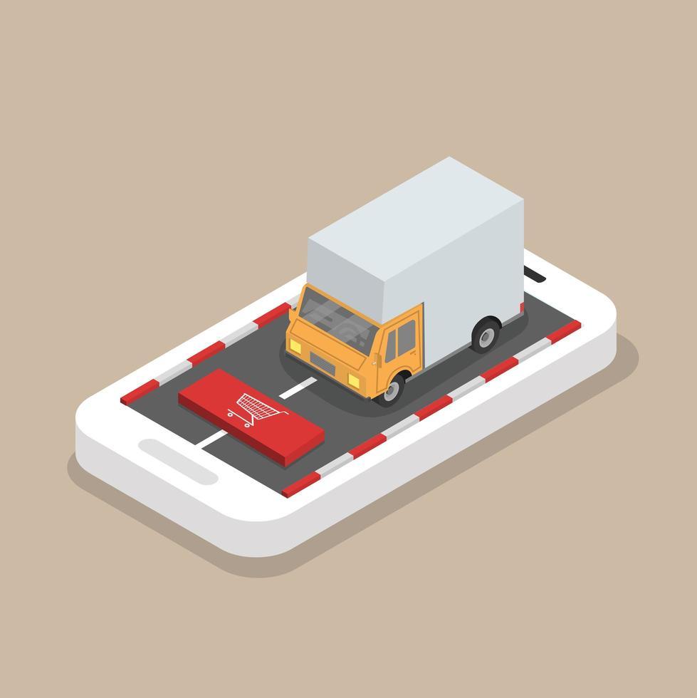 isometrische gele vrachtvrachtwagen op de mobiele telefoon vector