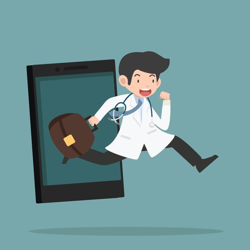 online gezondheidszorgconcept met werkende arts vector