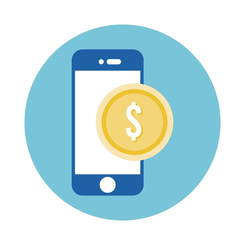 muntgeld dollar met smartphone blok stijlicoon vector