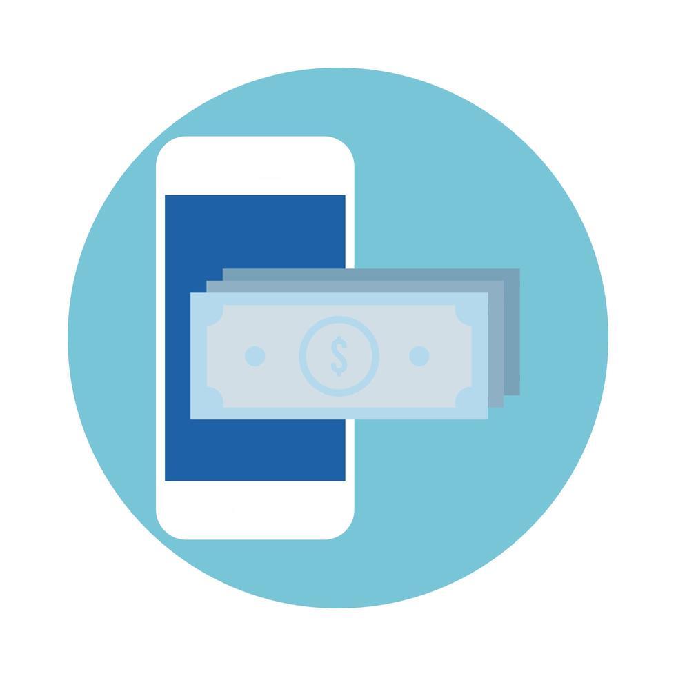 rekeningen geld dollars in smartphone blok stijlicoon vector