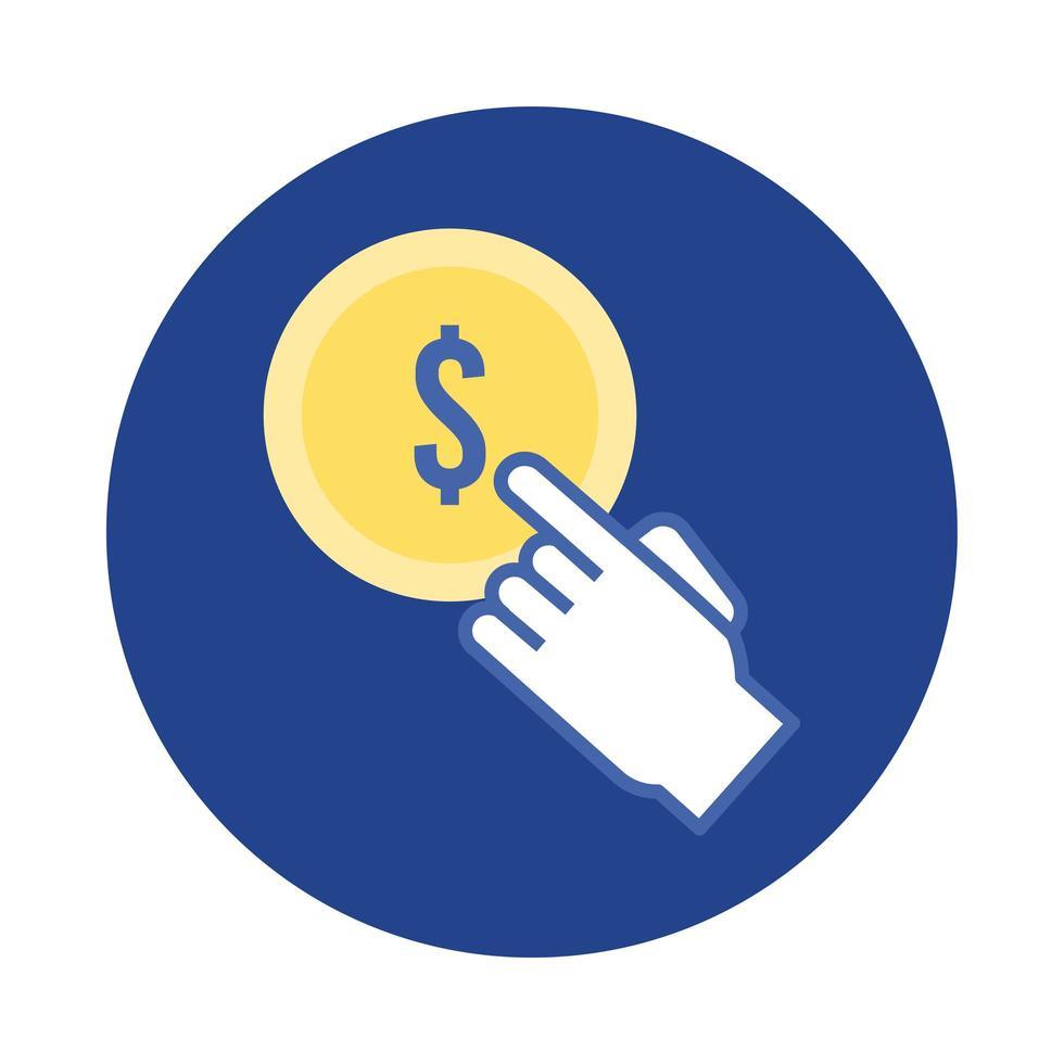 muntgeld dollar met hand cursor blok en platte stijlicoon vector