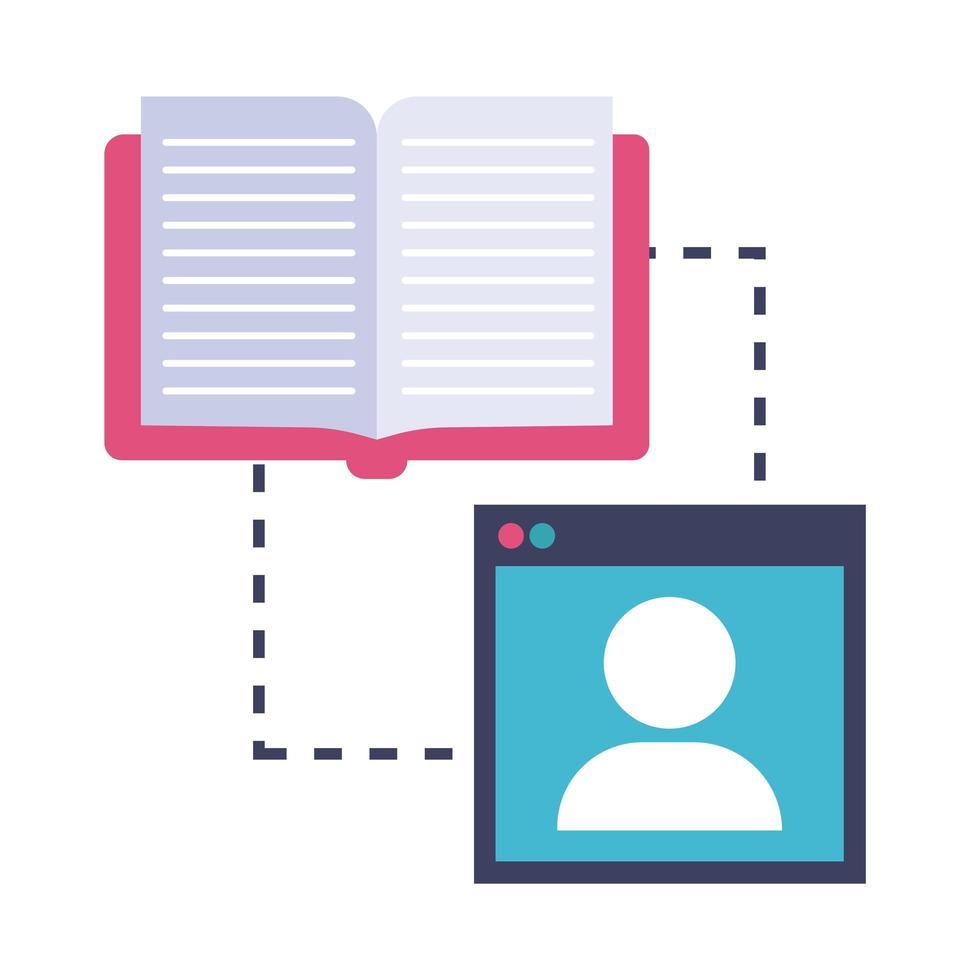 elektronisch boek in sjabloononderwijs online vlakke stijl vector
