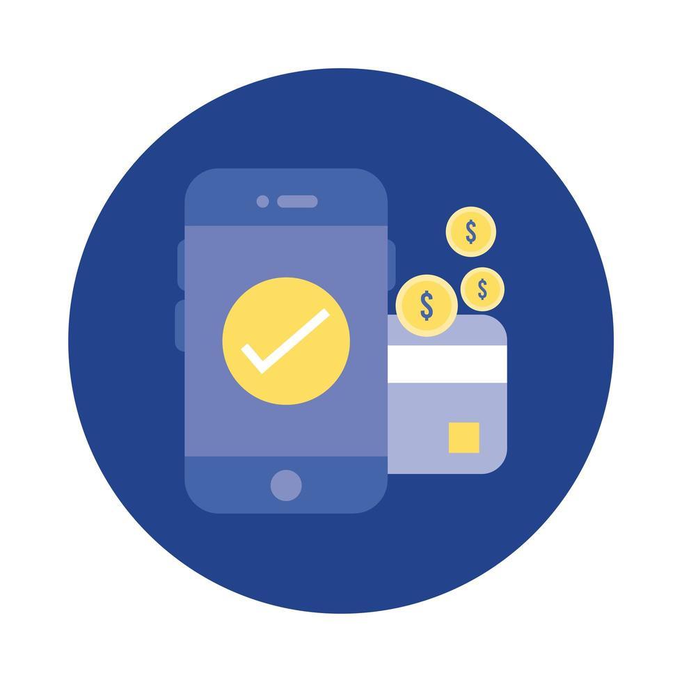 smartphone met munten en creditcardblok en platte stijlicoon vector