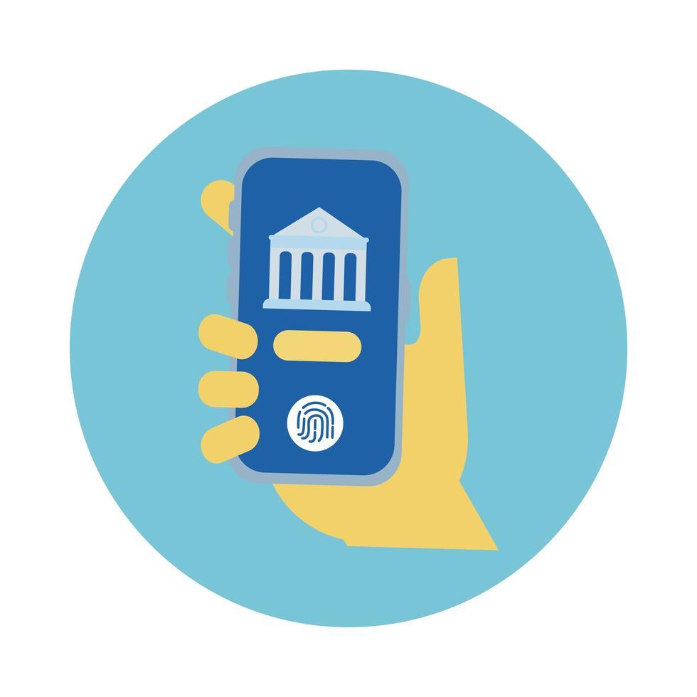 hand met smartphone met bankblokstijl vector