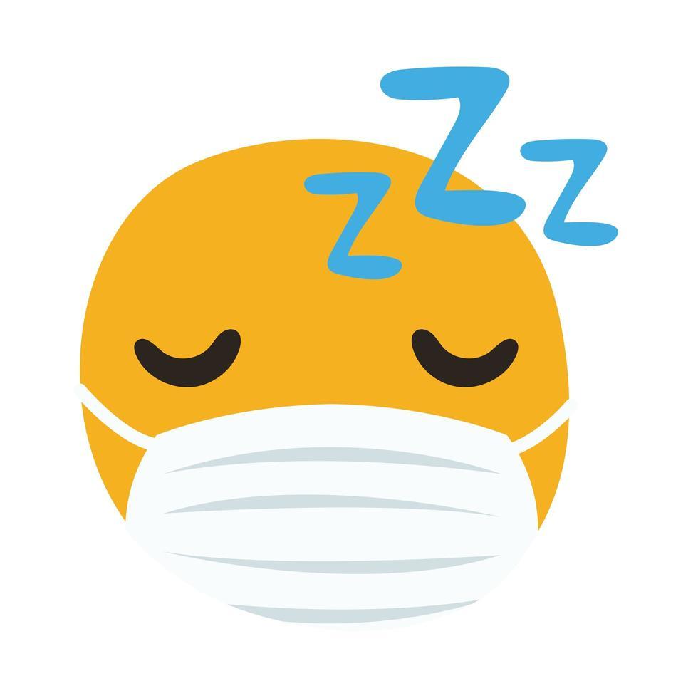 emoji in slaap met medische masker hand tekenen stijl vector