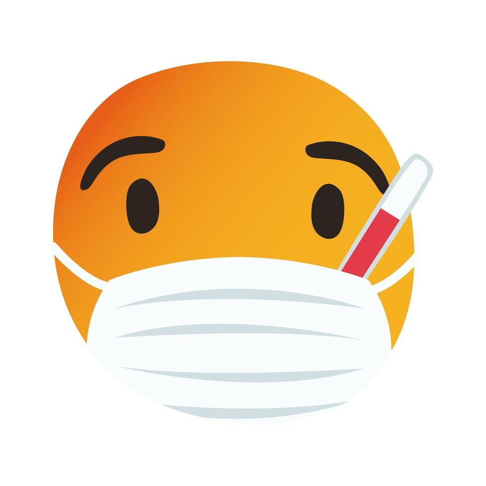 emoji ziek met medisch masker en thermometer hand tekenen stijl vector