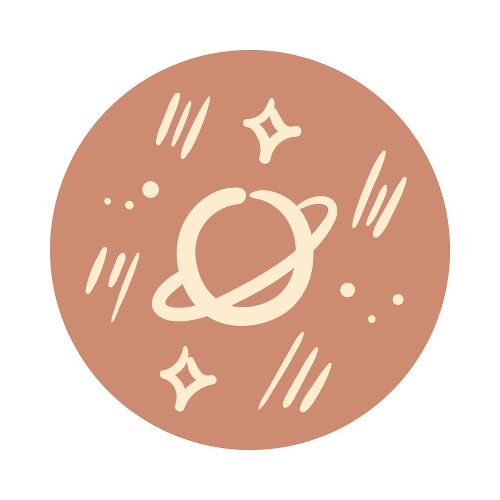saturnus en sterren boho hand tekenen stijl vector