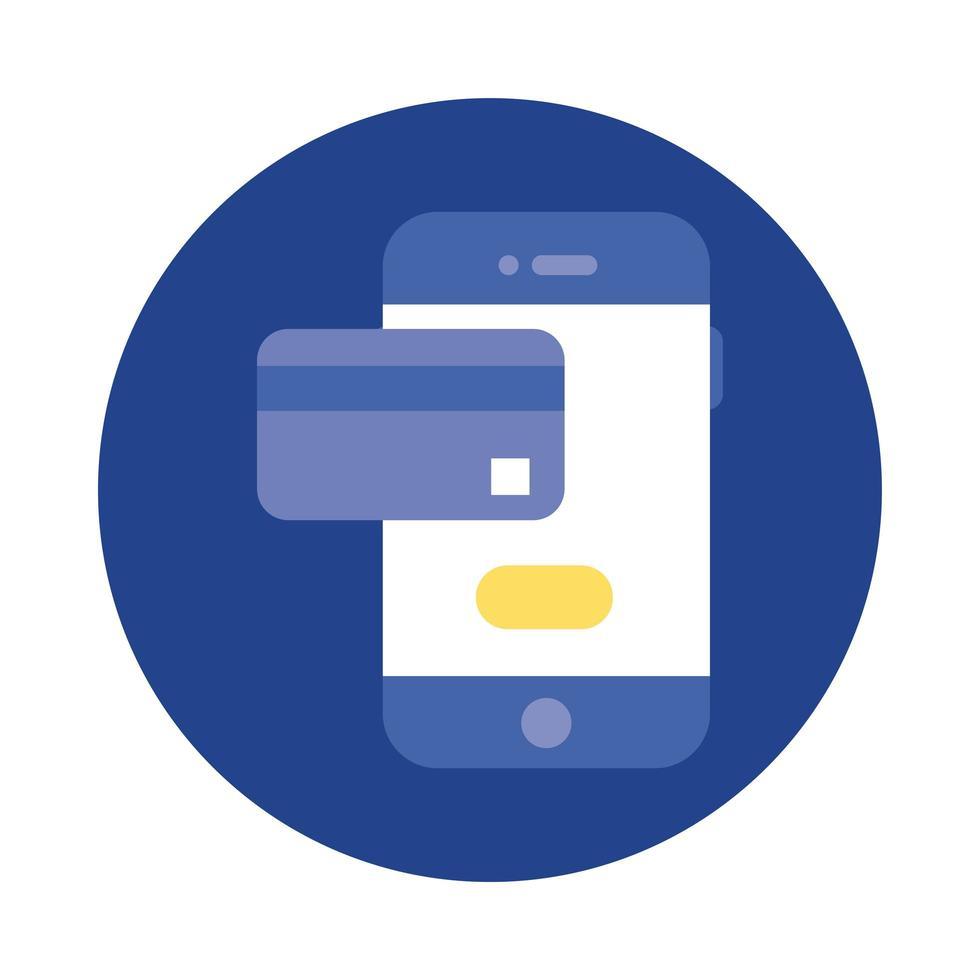 creditcard in smartphoneblok en platte stijlicoon vector