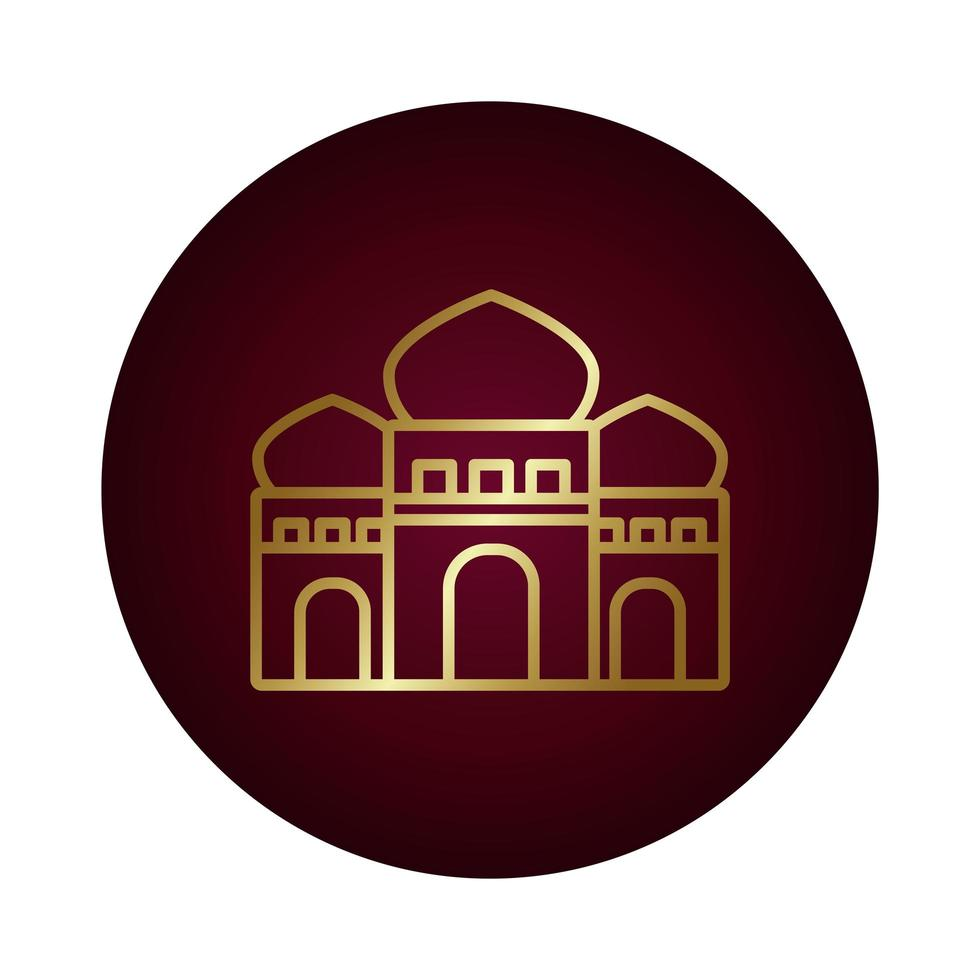 ramadam kareem tempel blok kleurovergang stijlicoon vector