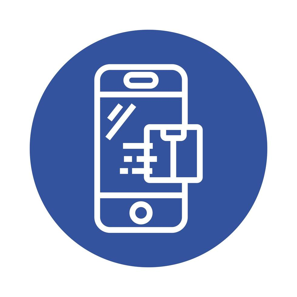doos in blokstijl voor bezorgservice voor smartphones vector