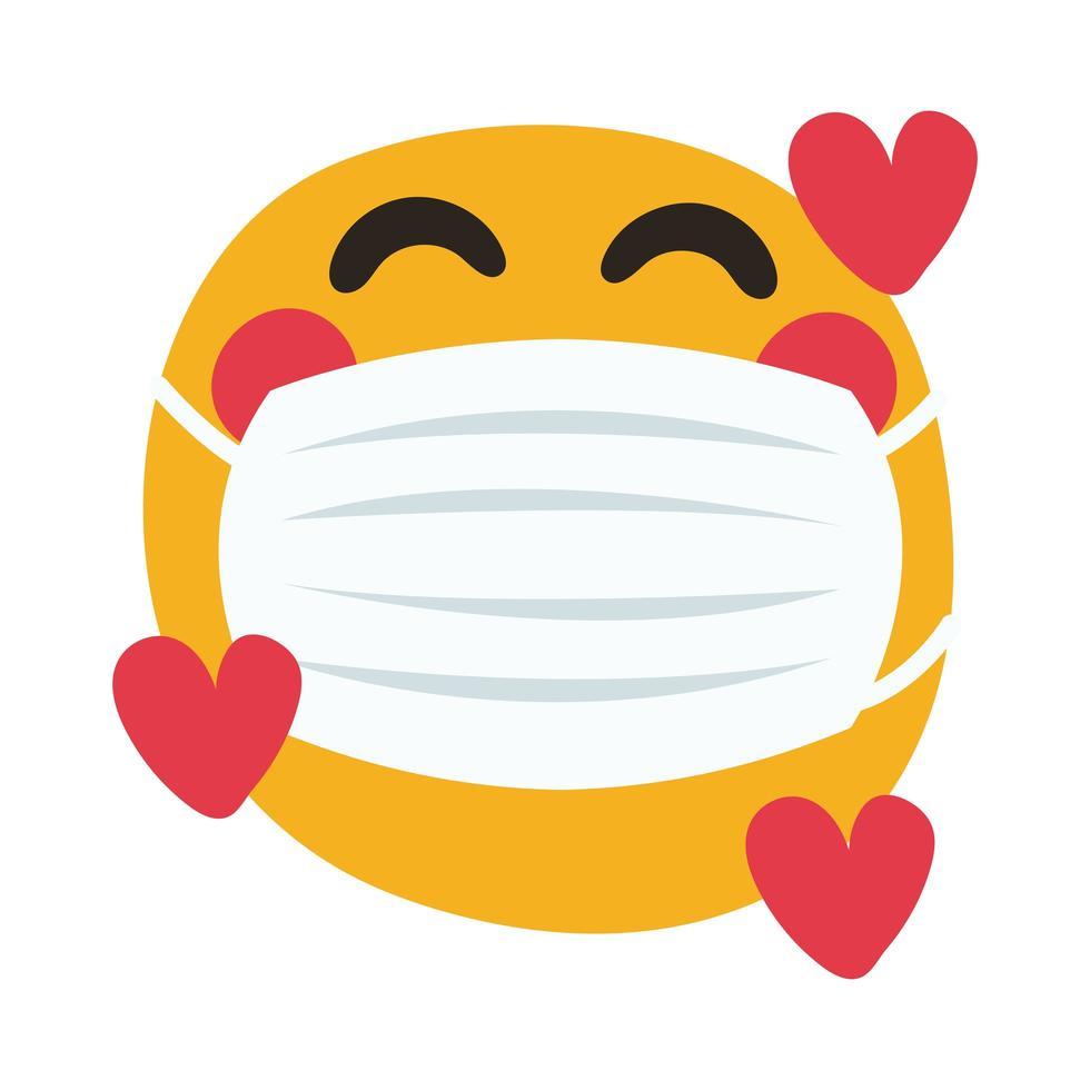 emoji met medisch masker met harten hand tekenen stijl vector