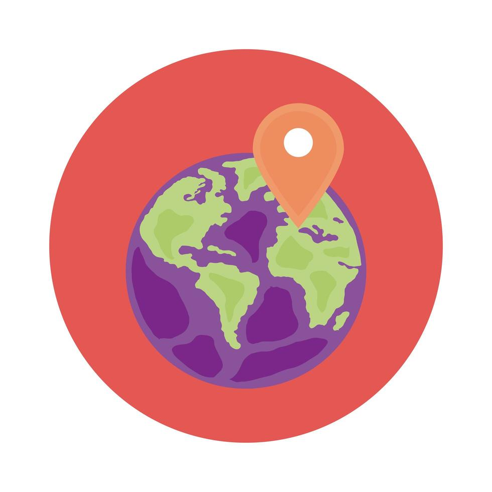 aarde planeet met pin locatie blok stijlicoon vector