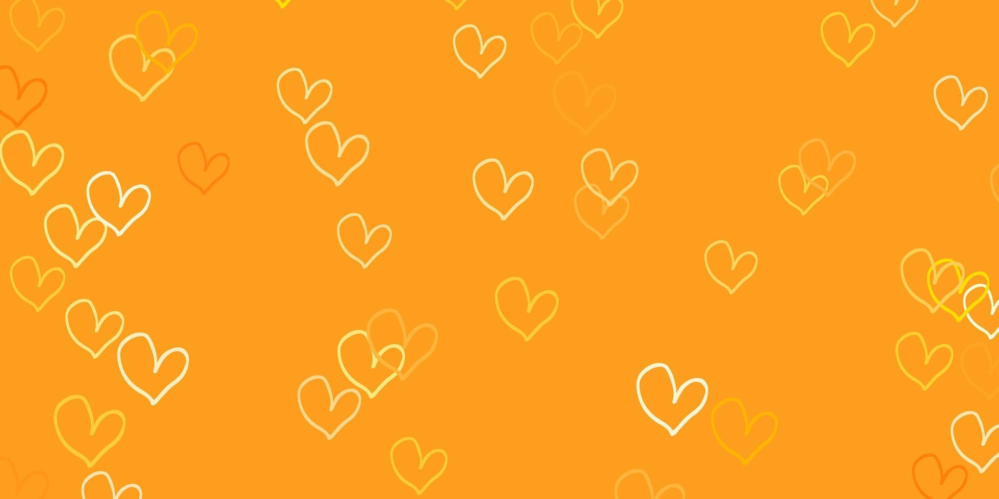 lichtoranje vector achtergrond met glanzende harten.