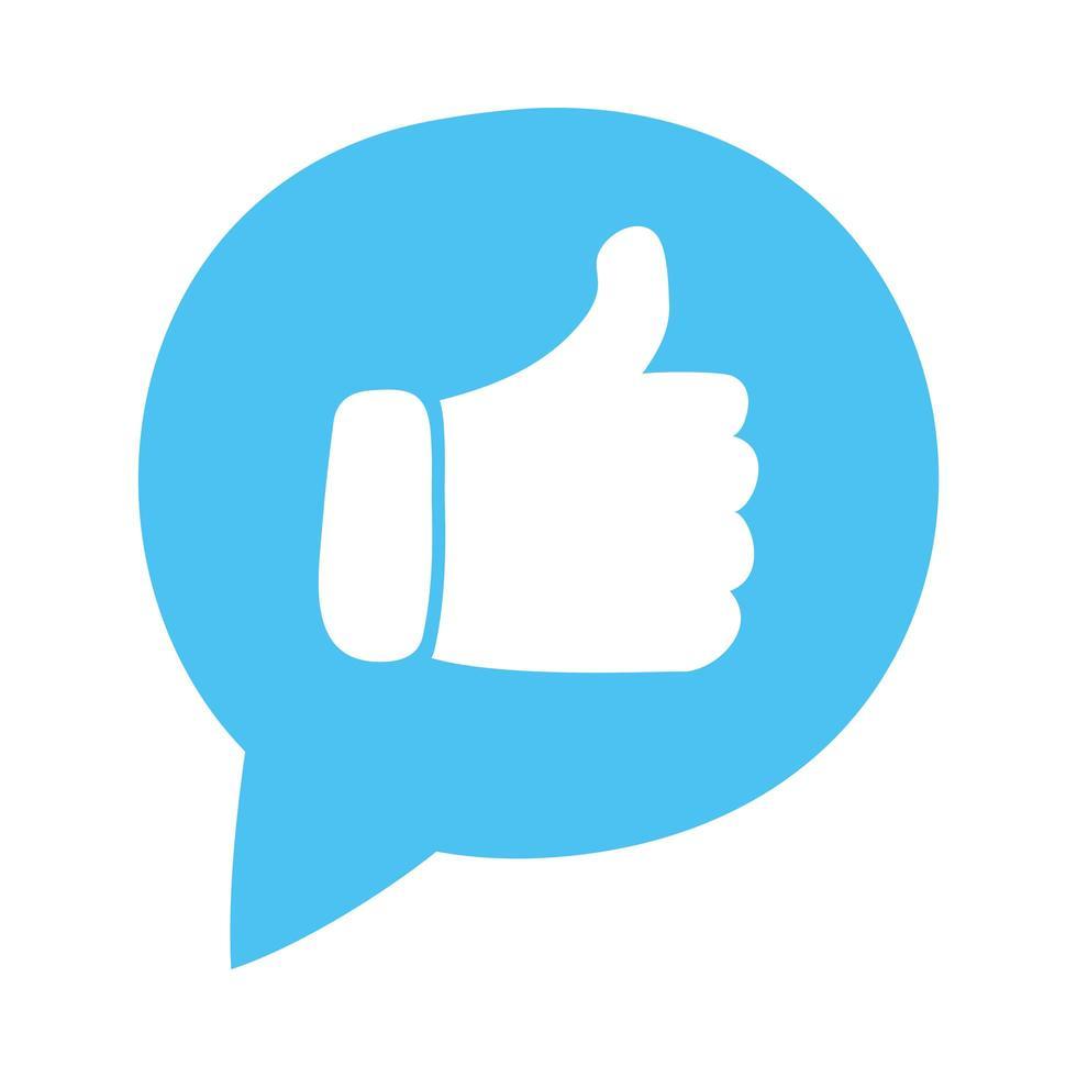 tekstballon met hand zoals sociale media vector