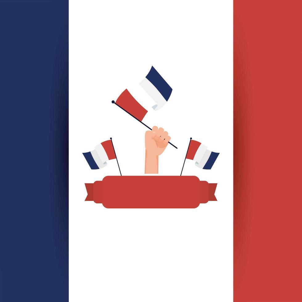 hand met de vlag van Frankrijk voor gelukkig bastille-dag vectorontwerp vector
