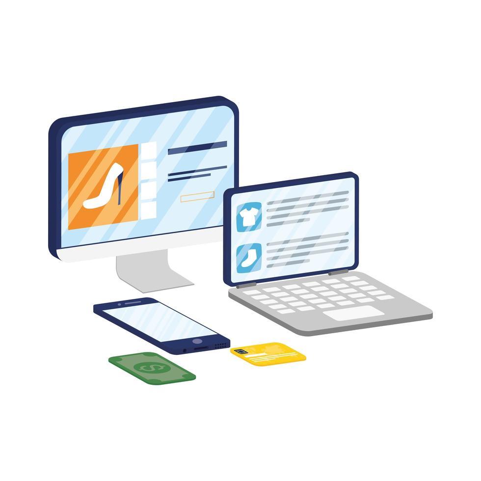 desktop en laptop met e-commerce technologie voor smartphones vector