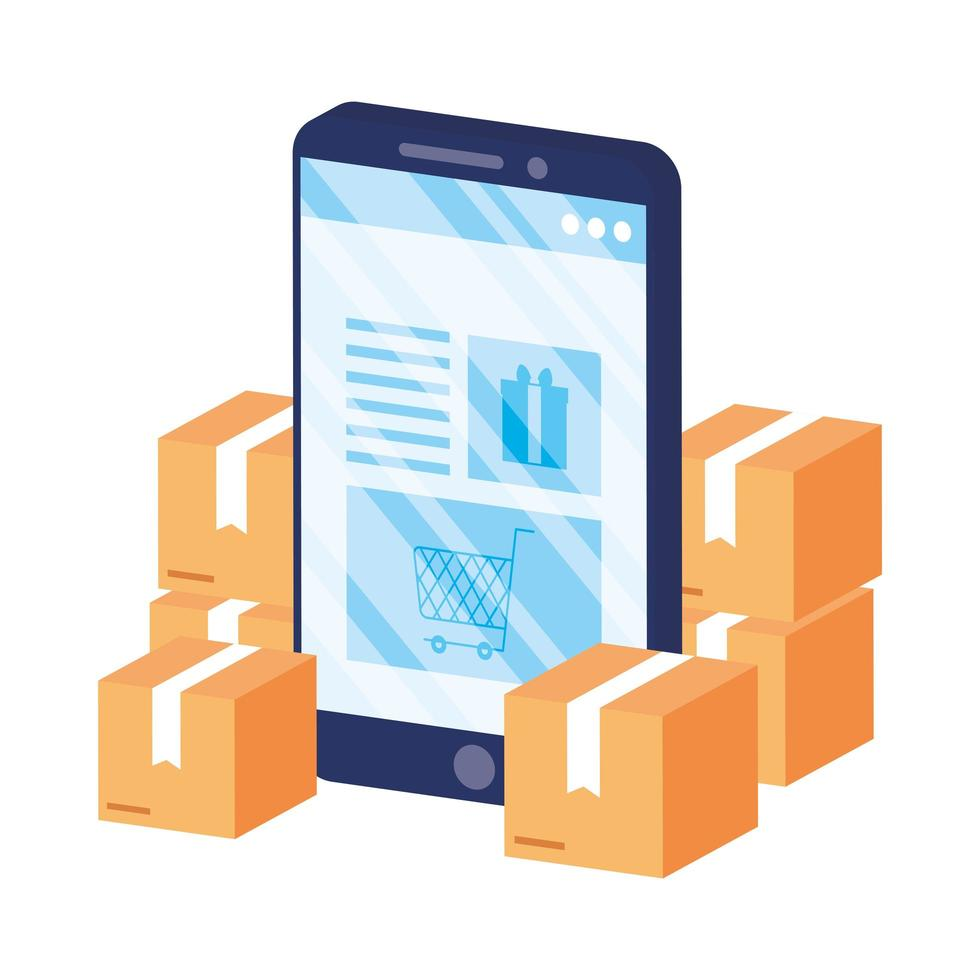 online e-commerce met smartphone en dozen vector
