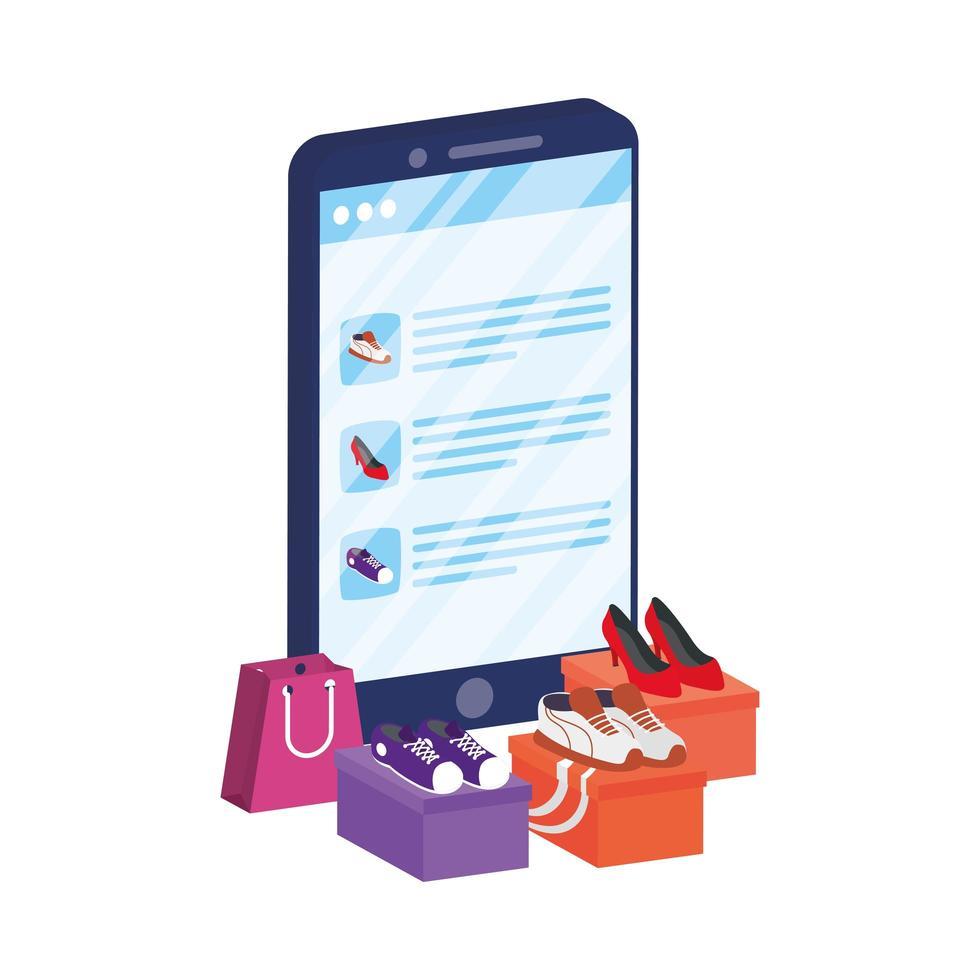 online e-commerce met schoenen voor het kopen van smartphones vector