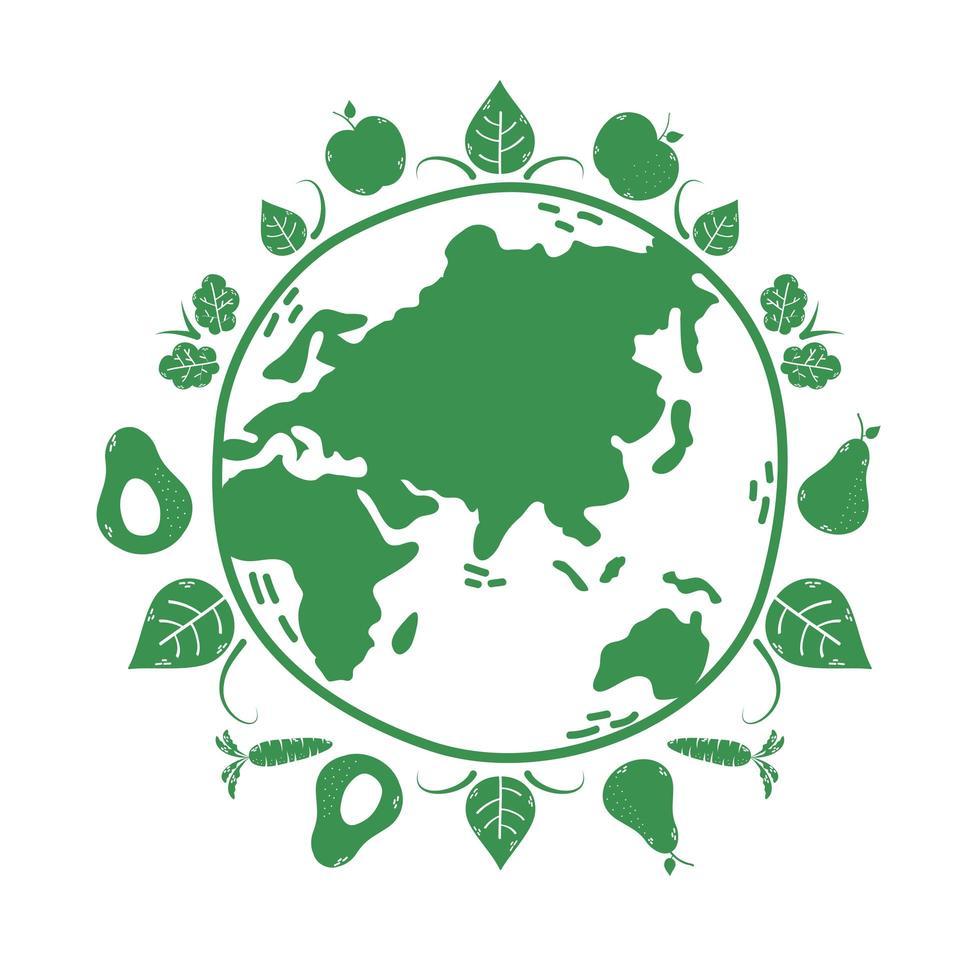 planeet aarde met groenten en fruit vector