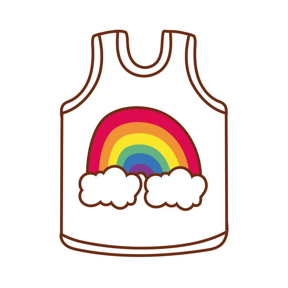 mouwloos onderhemd met schattig regenboogontwerp voor gay pride vector
