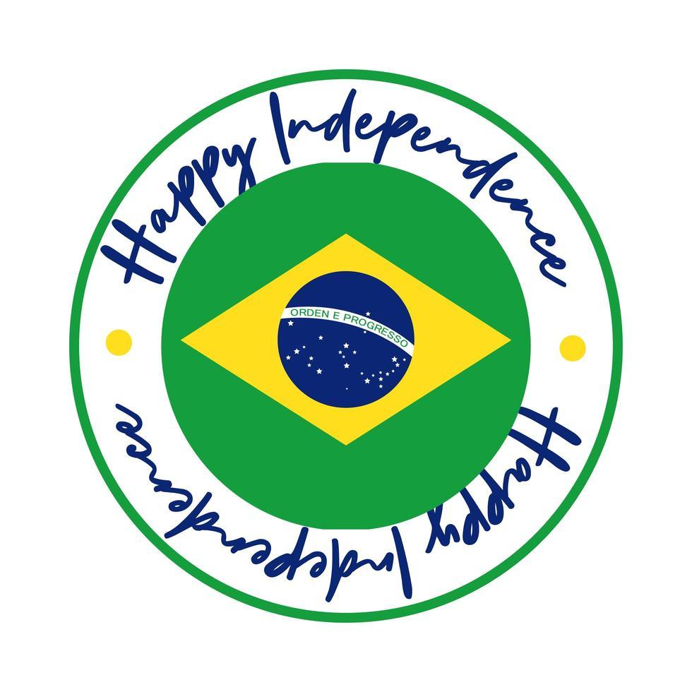 gelukkige onafhankelijkheidsdag brazilië kaart met vlag zegel vlakke stijl vector