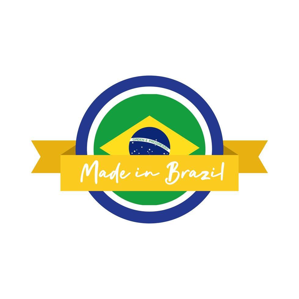 gemaakt in Brazilië banner met vlag en lint vector