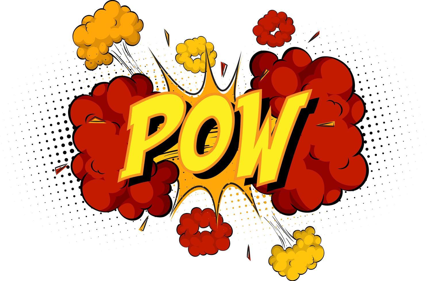 woord pow op komische wolk explosie achtergrond vector