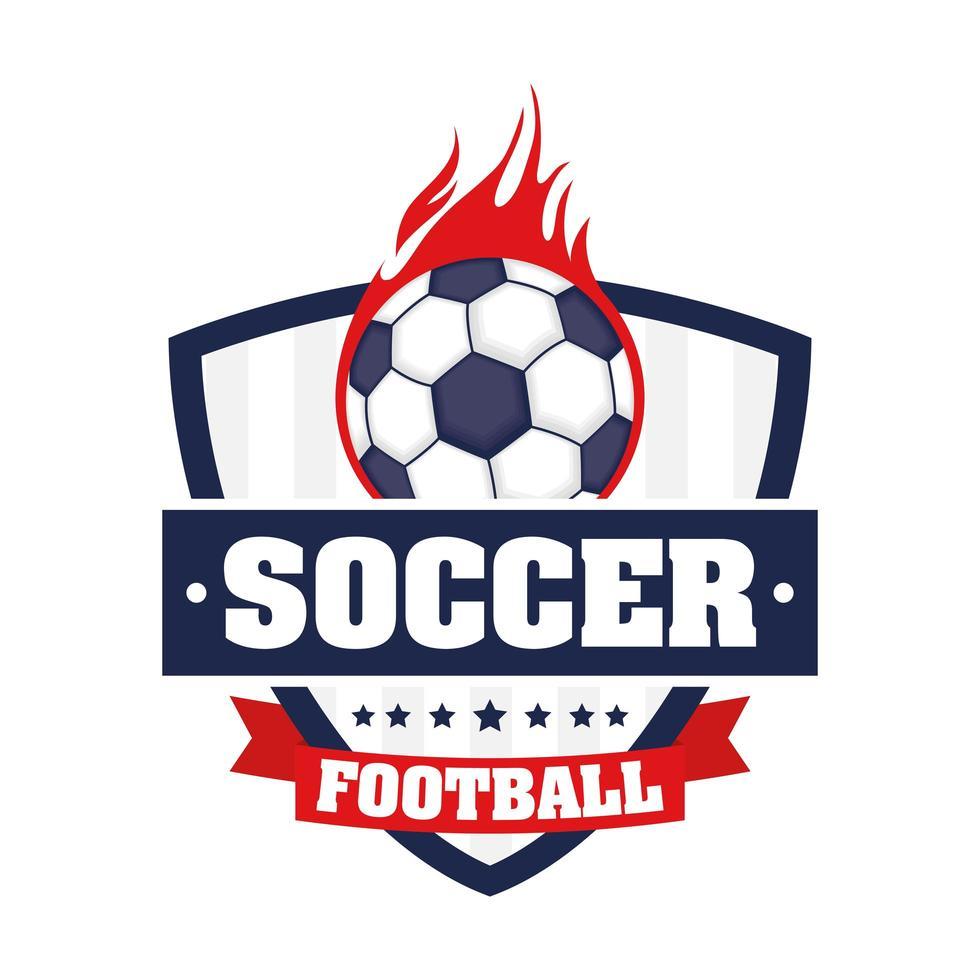 voetbal pictogram met schild en bal in brand vector