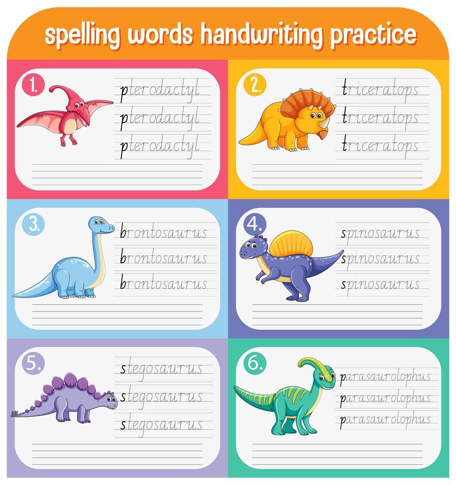 set spellingswoorden dinosaurus handschrift oefenblad vector
