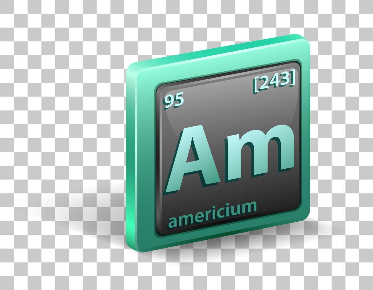 americium scheikundig element. chemisch symbool met atoomnummer en atoommassa. vector