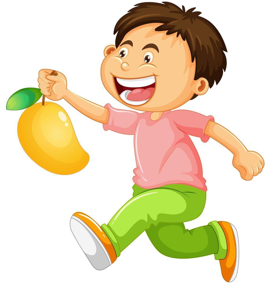 een jongen met mango fruit stripfiguur geïsoleerd op een witte achtergrond vector