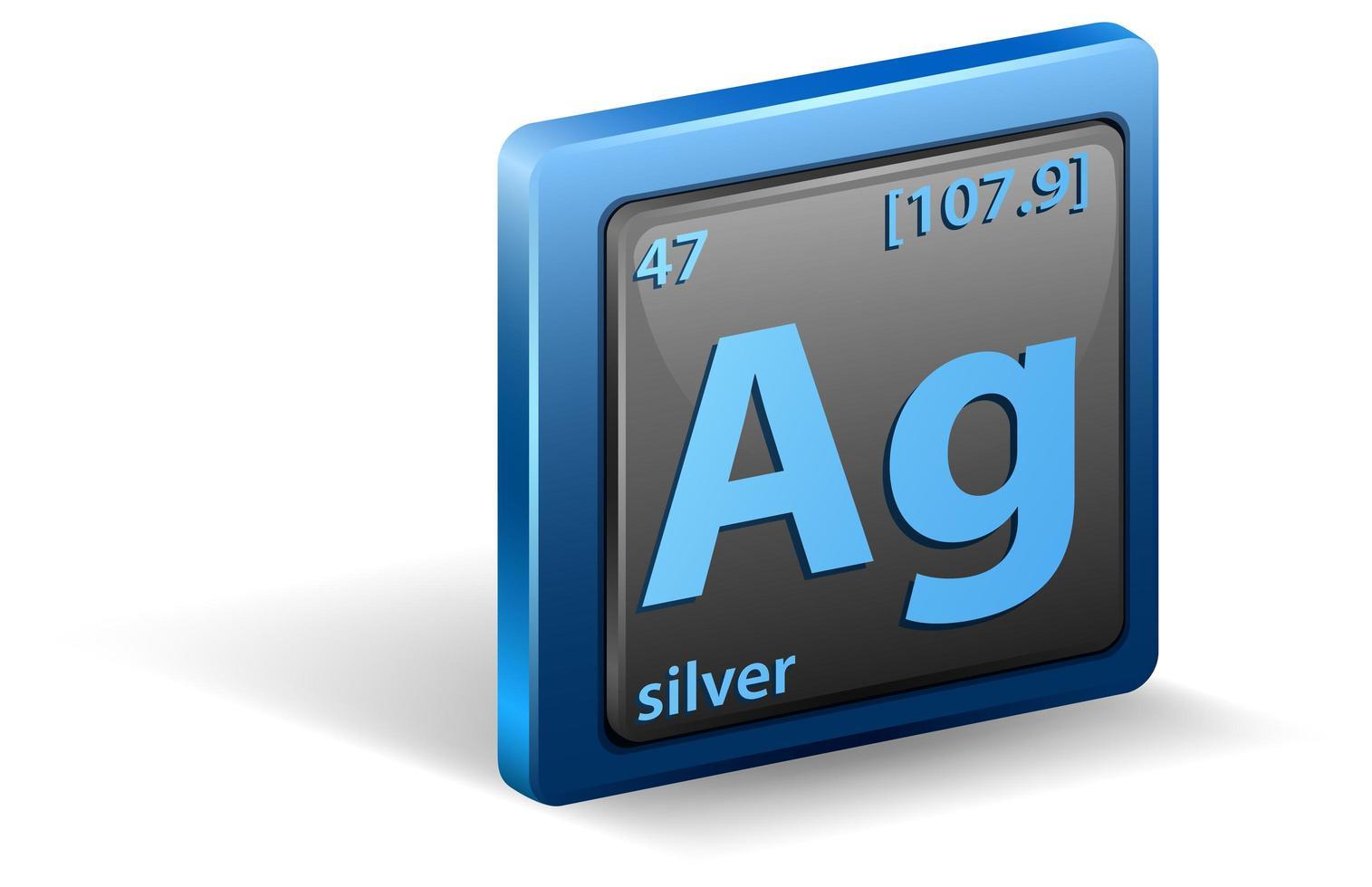 zilver scheikundig element. chemisch symbool met atoomnummer en atoommassa. vector