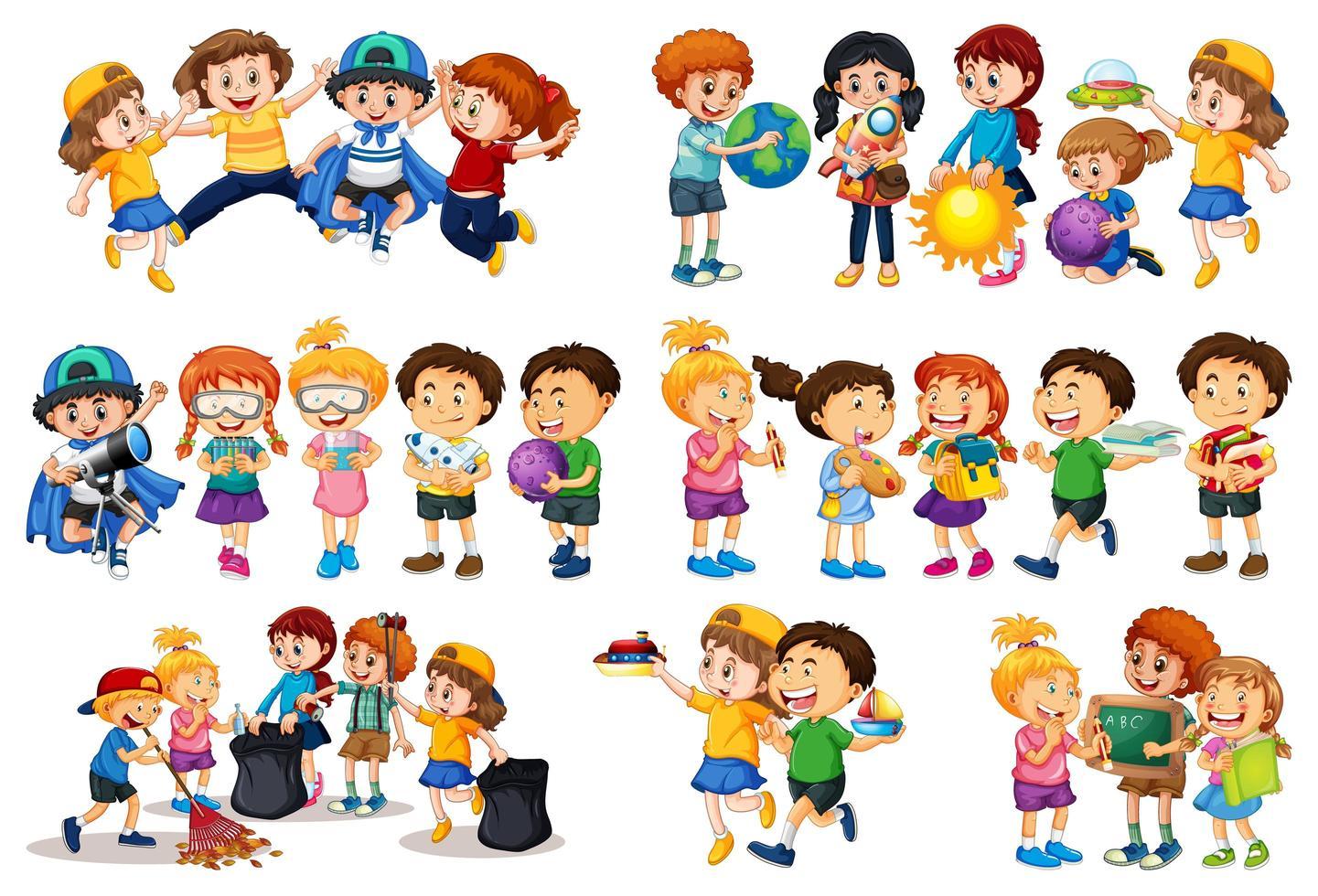 set van verschillende jongen spelen met hun speelgoed stripfiguur geïsoleerd op een witte achtergrond vector