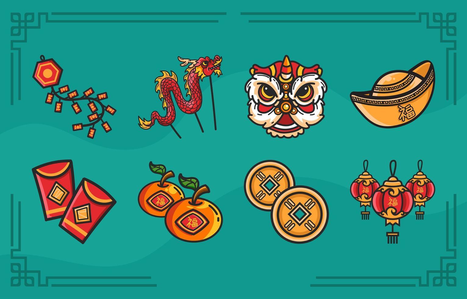 traditionele iconische items van het nieuwe maanjaar vector