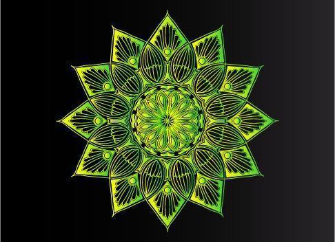 groen sier-, bloemen- en abstract arabesk mandala-ontwerp vector