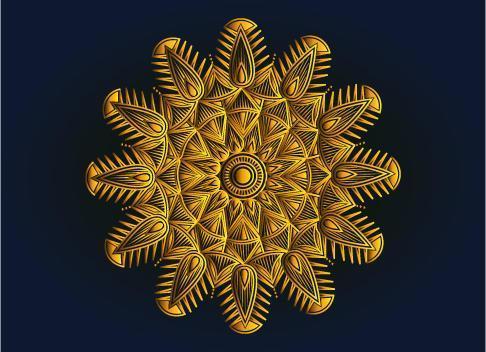 gouden sier-, bloemen- en abstract arabesk mandala-ontwerp vector