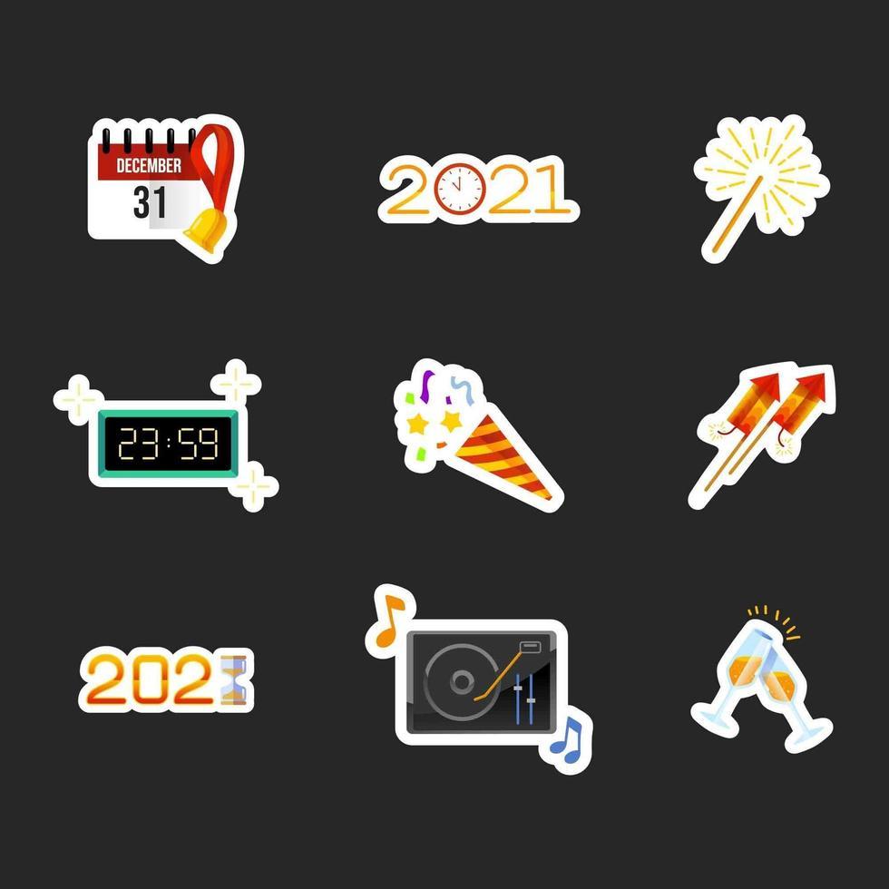 gelukkig nieuwjaar sticker vector