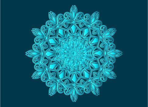 blauw sier-, bloemen- en abstract arabesk mandala-ontwerp vector