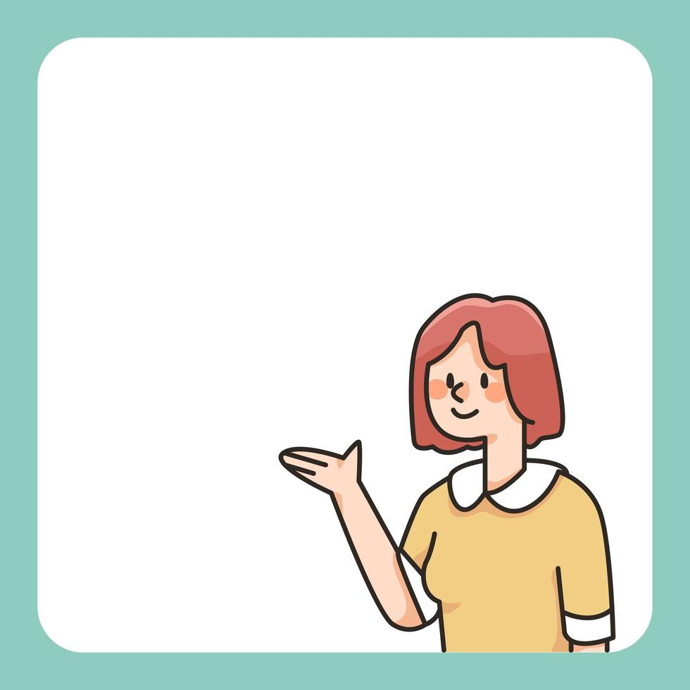 meisje presenteert Kladblok cute cartoon afbeelding vector