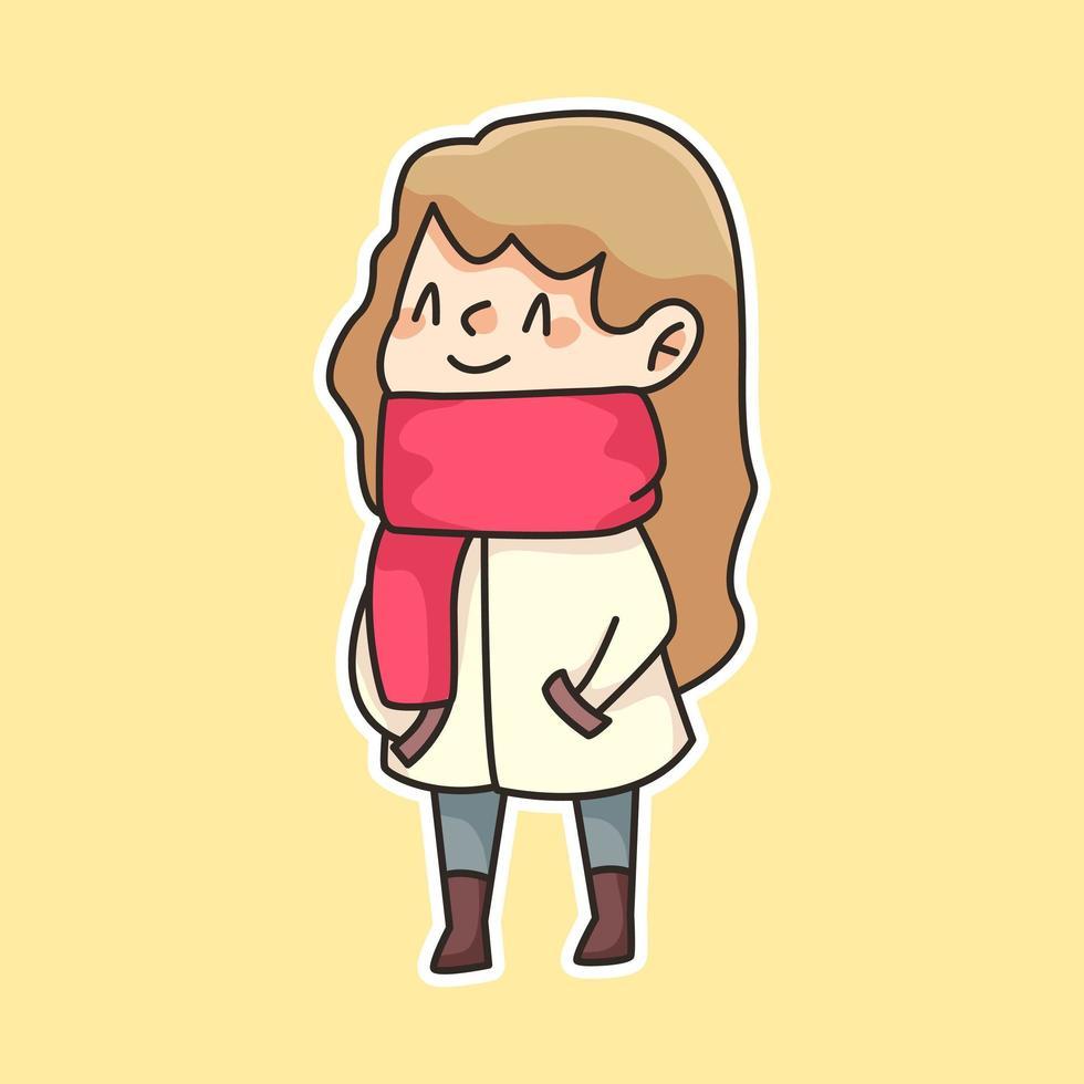 winter meisje dragen sjaal cute cartoon afbeelding vector