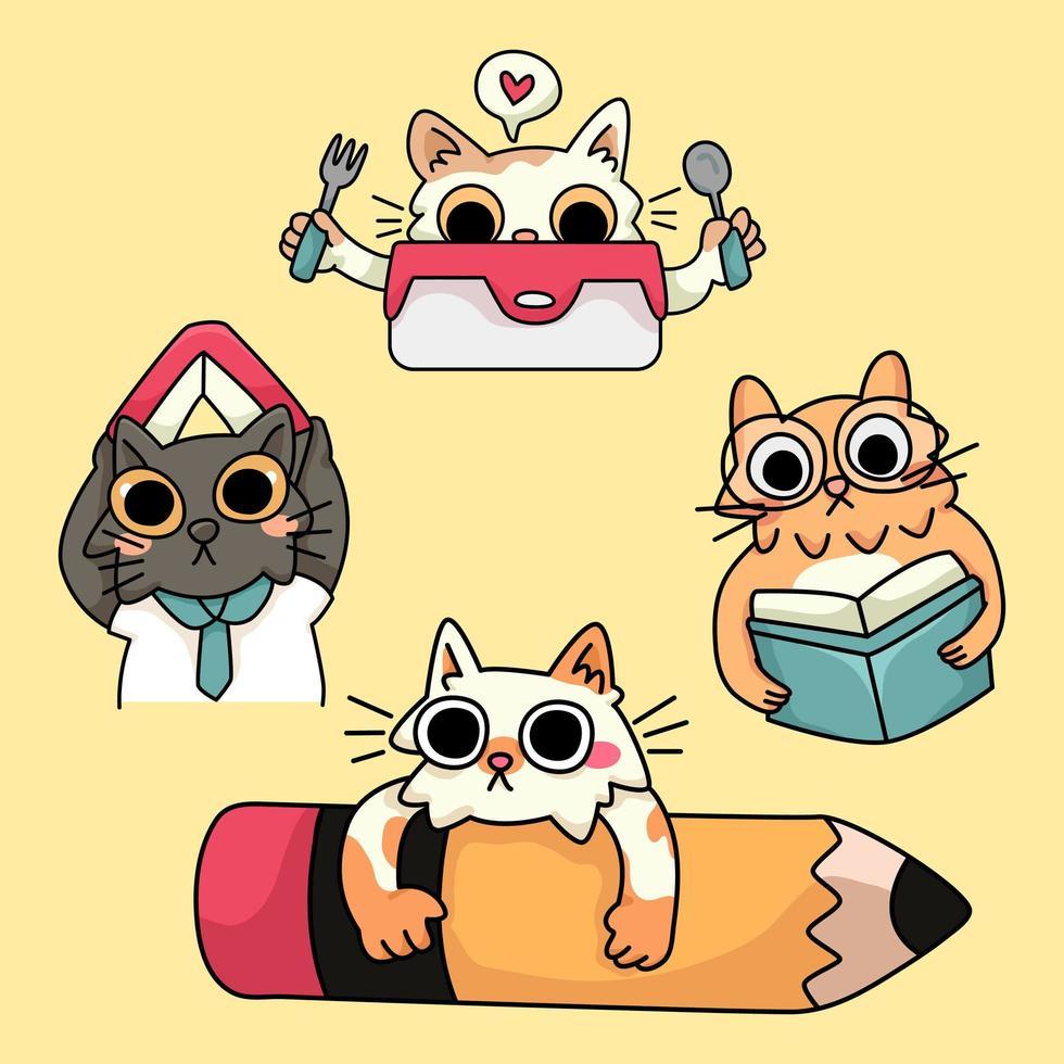 kat kitten blij terug naar school studie tekening illustratie vector