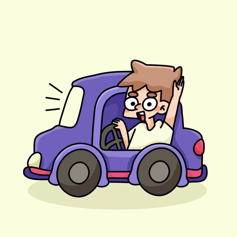 jongen rijden schattige auto cartoon afbeelding vector