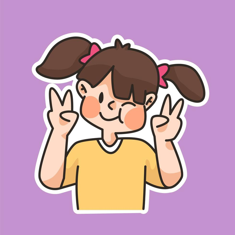 schattig meisje glimlachend vredesteken cute cartoon afbeelding vector